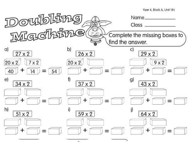 Math Worksheets Doubles And Halves - mathsphere free sample maths ...